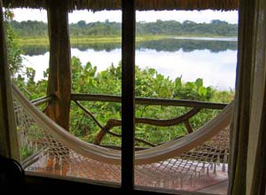 Hammock in rainforest lodge