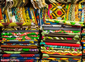Textiles in a Brazzaville market