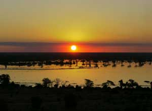 Sunset over the flooded Chobe River