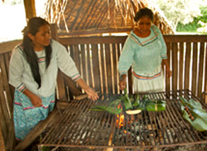 Sani ladies cooking a traditional lunch