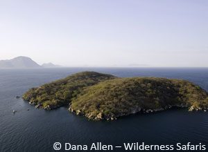 Aerial view of Mumbo Island