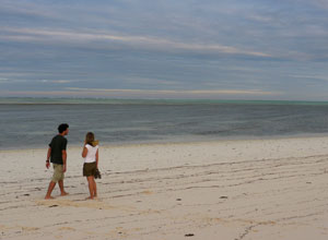 Walking along the beach on Fanjove Island